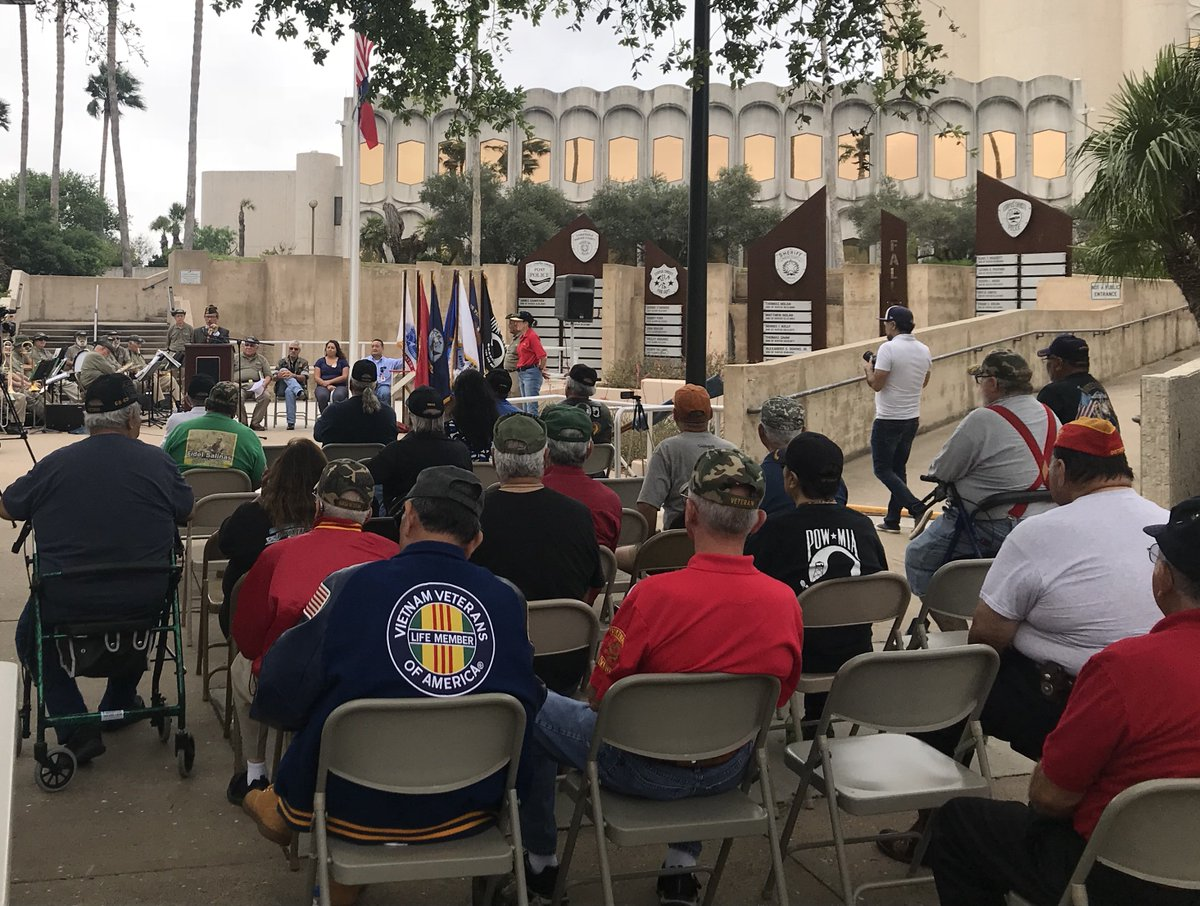 Today, the Veterans Band of Corpus Christi and the Nueces County Veterans Service Office commemorated the 50th anniversary of the Vietnam War. Nicole from my office was there.