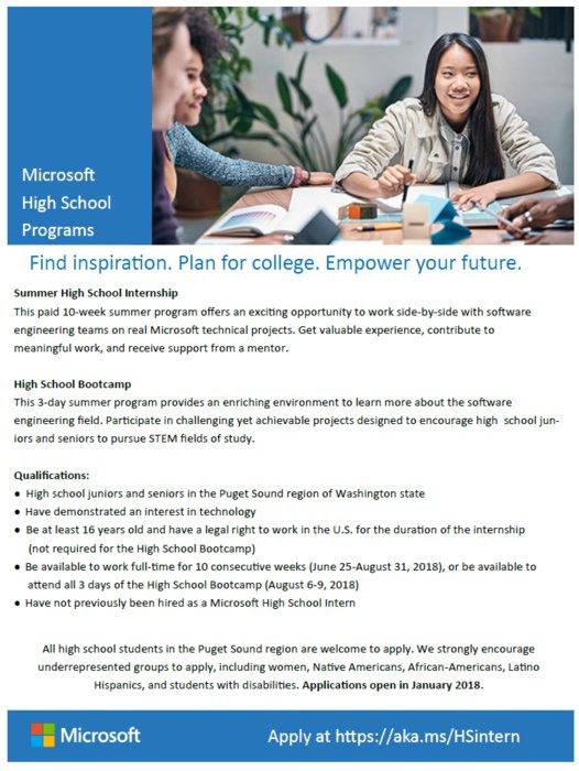 microsoft high school summer internship