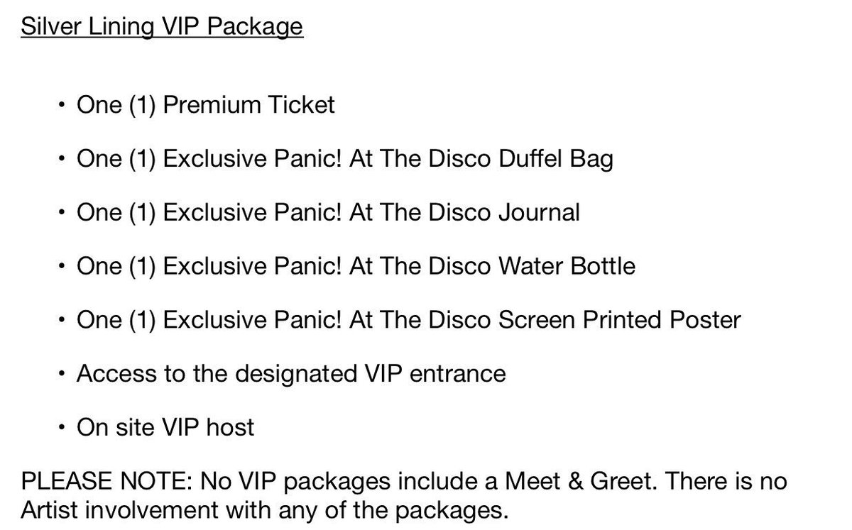 Panic updating on twitter here is what is included in each vip updating on twitter here is what is included in each vip package for the prayforthewicked tour httpstn8hv3uv1l8 m4hsunfo