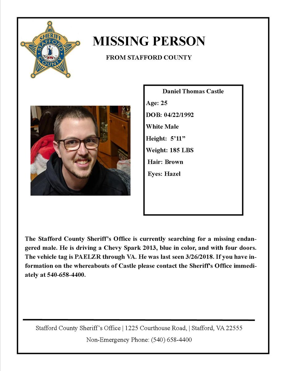 The Stafford County Sheriff's Office is currently searching for a missing endangered male. If you have information on the whereabouts of Daniel Thomas Castle, 25 years old, please contact the Sheriff's Office immediately at 540-658-4400. https://t.co/OSMBVuLIgj