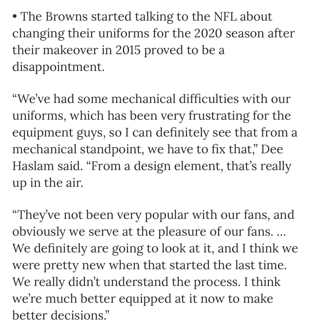 Dee Haslam quote on the rumored 2020 uniform changes   Browns dd15756b2