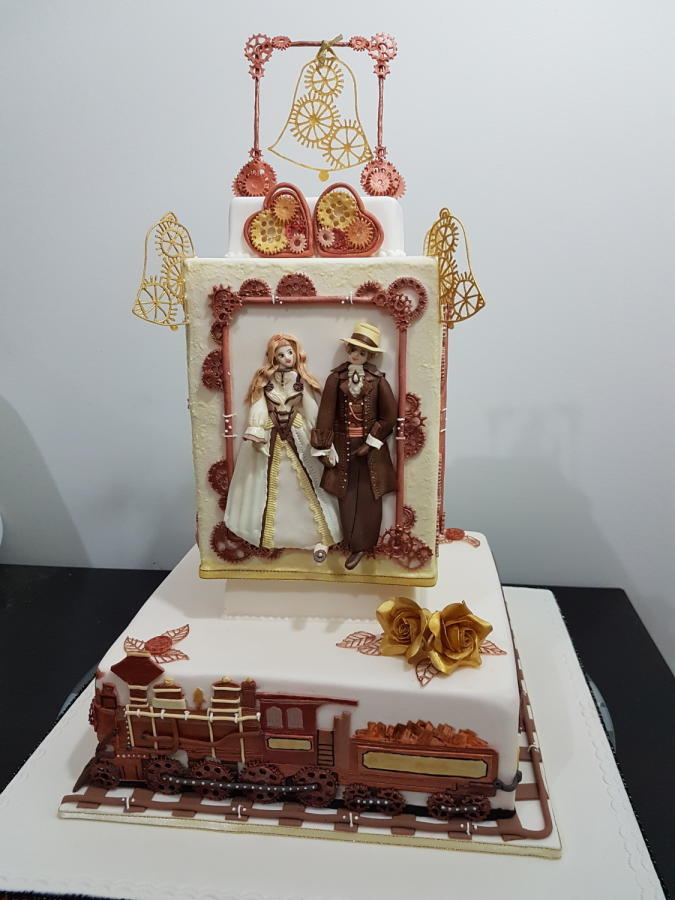 #Steampunk Awesome of the Day: #Western Theme Pièce Montée #Wedding #Cake with Train, Gears & Cogs via @CakesDecor #SamaCake