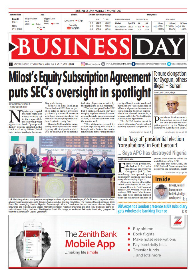 Businessday Media On Twitter Inside Businessday Milosts Equity