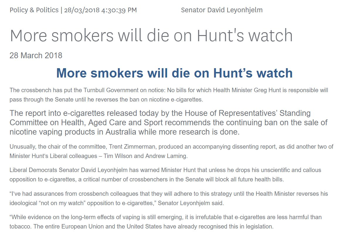 9f688d056b30db ... the Senate until he reverses the ban on nicotine  ecigs  http   ow.ly 79jz30jc2Q9  DavidLeyonhjelm  workmanalice   mirandadevinepic.twitter.com g32MLhcyQP