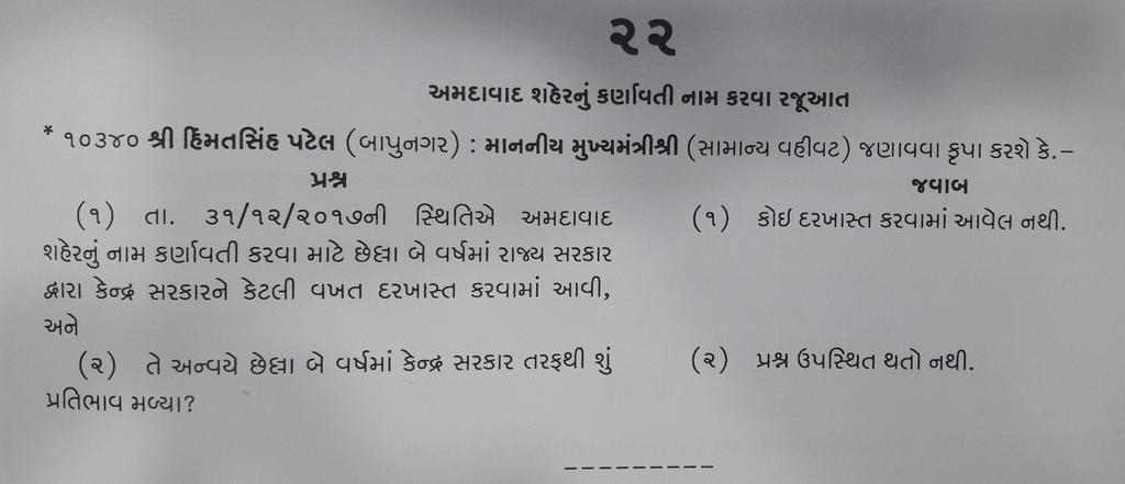 Gujarat govt has not sent any proposal to Centre for change of name of Ahmedabad as Karnavati: CM