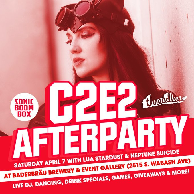 Don't forget about the @sonicboombox @c2e2 afterparty TONIGHT!  Hosted by @luastardust, #neptunesuicide