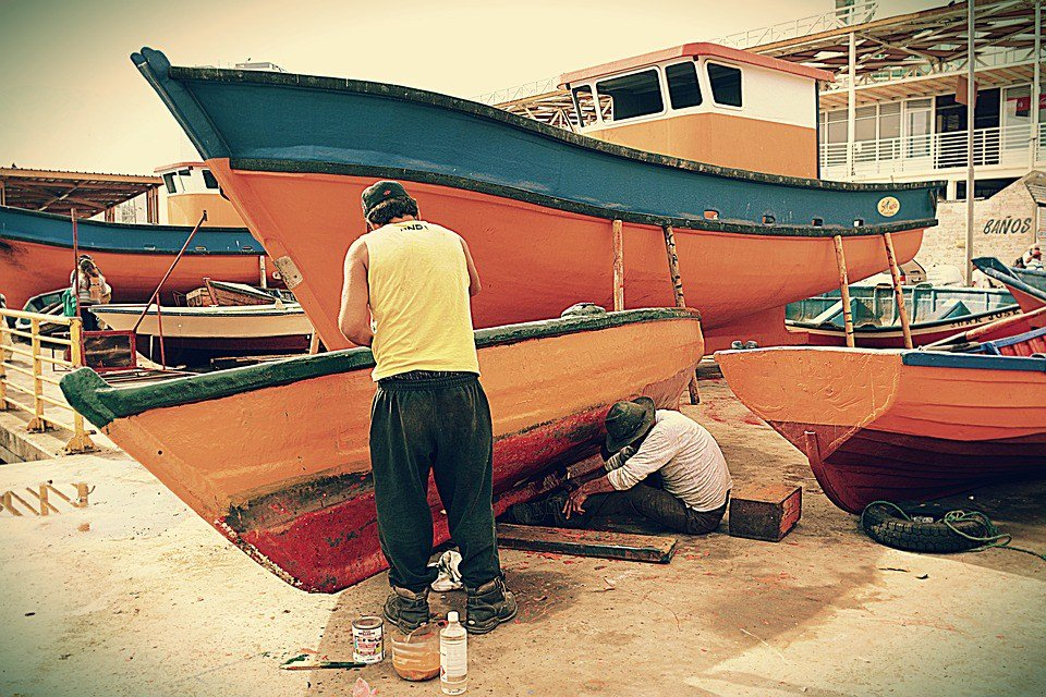 Painting, Boats, Fishermen, Inks