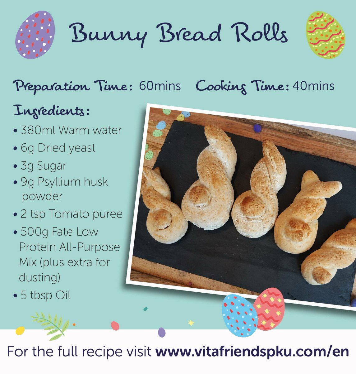 How cute are these?! These Bunny Bread Rolls are super easy to make and are sure to impress. Who else is getting excited for Easter weekend? Recipe here:  https://www. vitafriendspku.com/en/recipes/low -protein-roll/ &nbsp; …  #pku #pkurecipes #AVitafriendsEaster<br>http://pic.twitter.com/WOFwUoe5QH