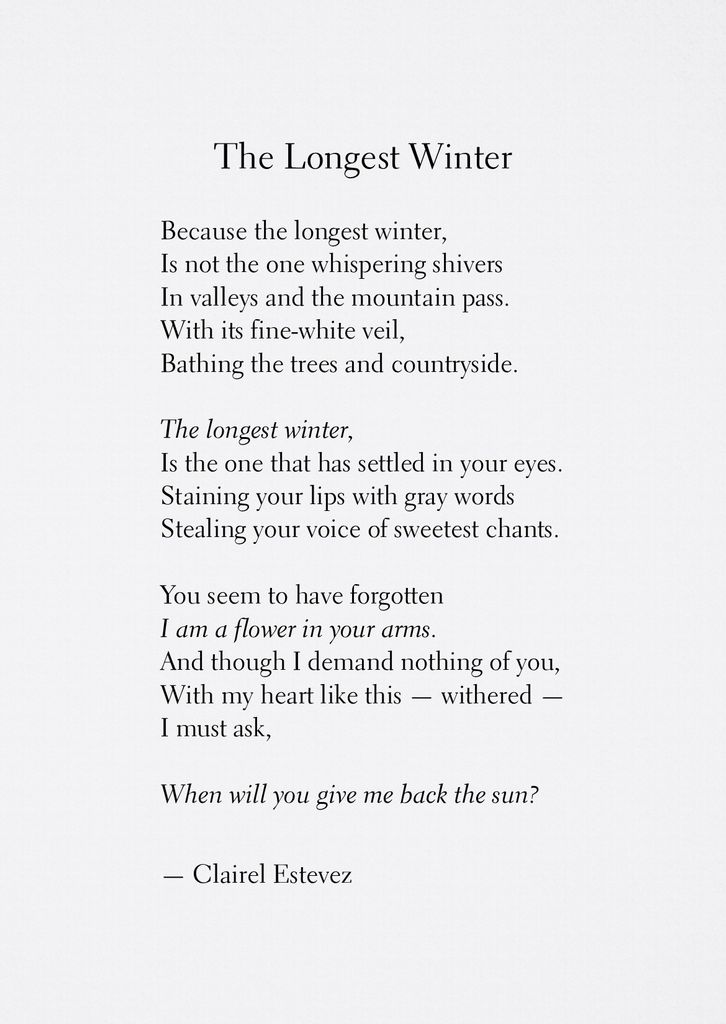 Clairel estevez on twitter the longest winter poetry website thewishfulbox instagram httpsinstagramclairelestevez clairelestevez poetry poem poems words thoughts spring inspiration flowers mightylinksfo