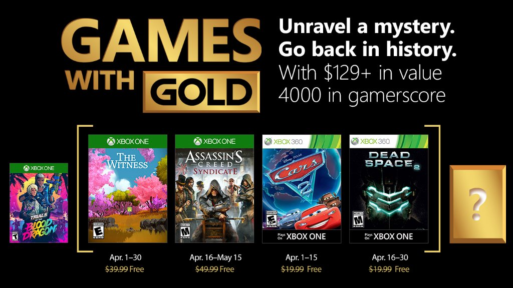 Xbox Live Games with Gold April 2018