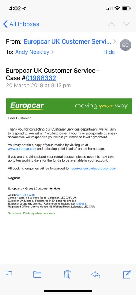 Europcar V Twitter Hi We Are Sorry For The Delay Of The Customer