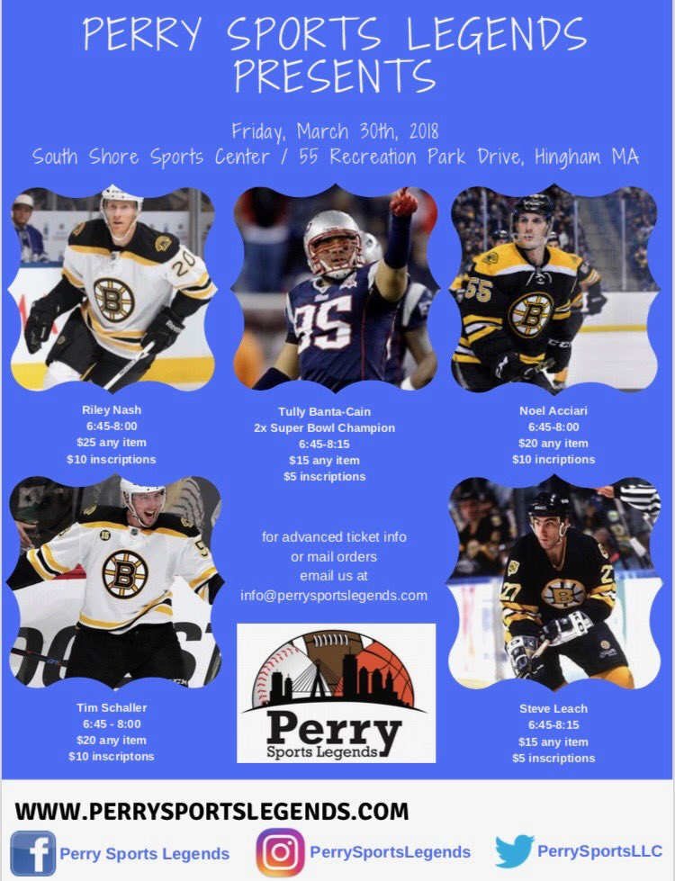 Join me, along with @timscha11er, #NoelAcciari and #SteveLeach, this Friday (March 30) at the South Shore Sports Center (55 Recreation Park Dr., Hingham, MA) for a public signing 6:45-8 PM, courtesy of @PerrySportsLLC. #Bruins https://t.co/Gl3k0Ju0kl