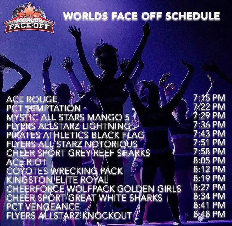 Excited for the World's Face Off? Next Friday, April 6th, #CheerDistrict will have all the updates! Check out the lineup below 💜 @CheerEvo