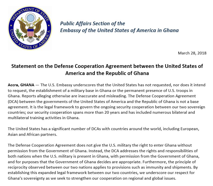 Us Embassy Ghana On Twitter Statement On The Defense Cooperation