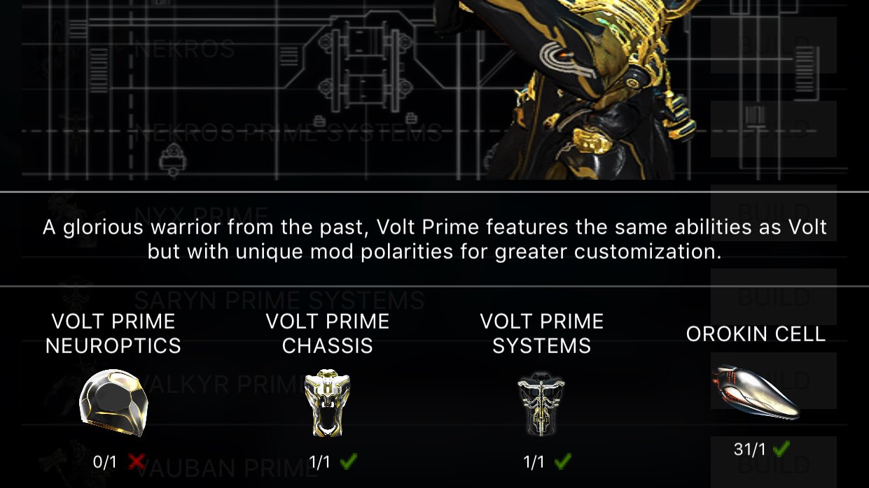 Mgb On Twitter My First Ever Prime Is Done Cooking And I M Really Close To A Second Which Great Because Volt Dude Warframe