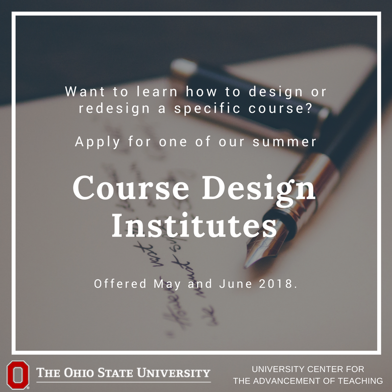 Want to design or redesign a course? Apply for a Summer Course Design Institute. Participants will gain the tools, time, and support they need as they work to build or rebuild effective, student-centered courses. https://t.co/kAVECQeW2U