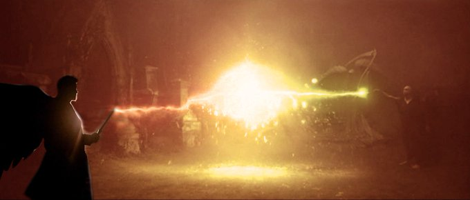 Me in a duel with Voldemort, using my angel blade.