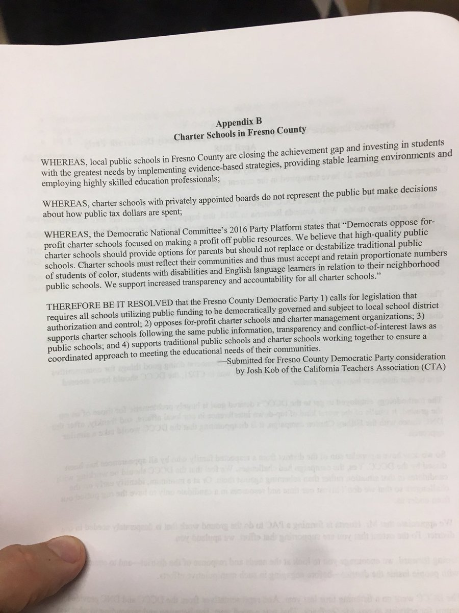 ... for charter school expansion, the Fresno County Democratic Party  Central Committee just unanimously passed a resolution critical of charter  schools.