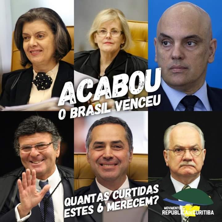 Acabou! o Brasil venceu!   LULA NA CADEIA !  #LulaPreso   #LulaNaCadeia #LulaPresoHoje https://t.co/L1lIJGfJF1