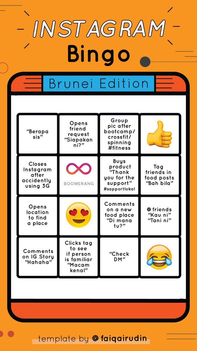 On Twitter Instagram Bingo Brunei Edition