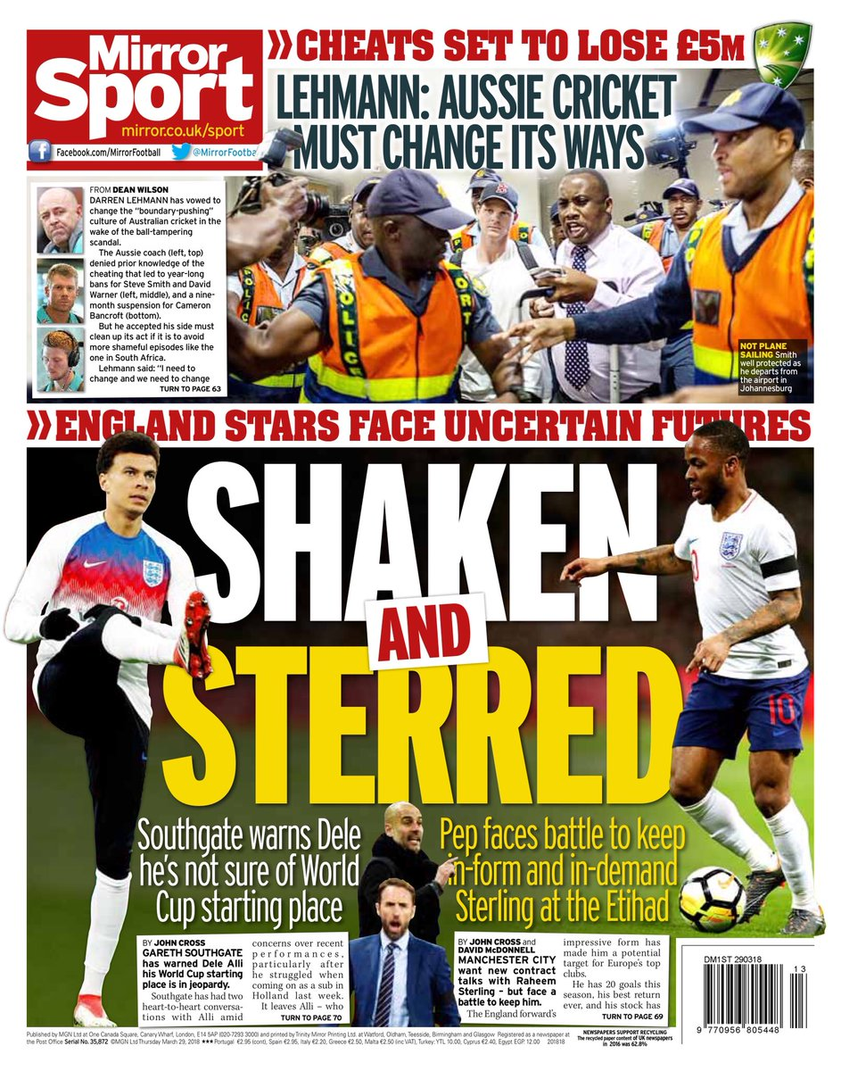 """Daily Mirror kombinerar Allis osäkra plats i landslaget med Raheem  Sterlings osökra framtid i """"Shaken   Sterred"""". Man City sägs erbjuda  Sterling nytt ... ef38850901793"""