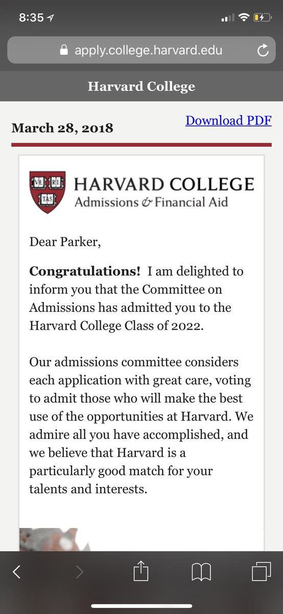 Harvard admissions on twitter welcome to harvard parker a harvard acceptance letter so incredibly humbled and excited to start the next chapter in my life come fall harvard2022picitteravd6pzh2fo thecheapjerseys Image collections