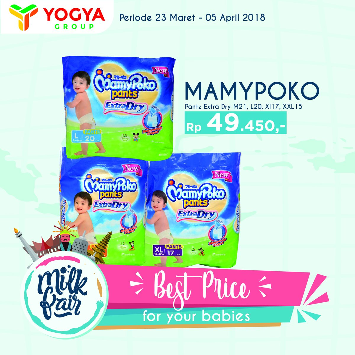 Yogya Group On Twitter Best Price Foryourbabies Mamypoko Pants Diapers L20 Extra Dry M21 Xl17 Xxl15 Rp 49450 Milk Fair 2018