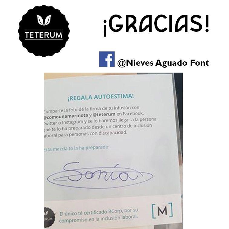 Gracias Nieves por compartir tu tarjeta se la enseñaremos a Sonia ! 😉 es una de las personas que trabaja desde un centro #insercionlaboral para personas con #discapacidad  #Teterum es marca de #té certificada  #BCorp por su compromiso con la #inclusion laboral  @comounamarmota