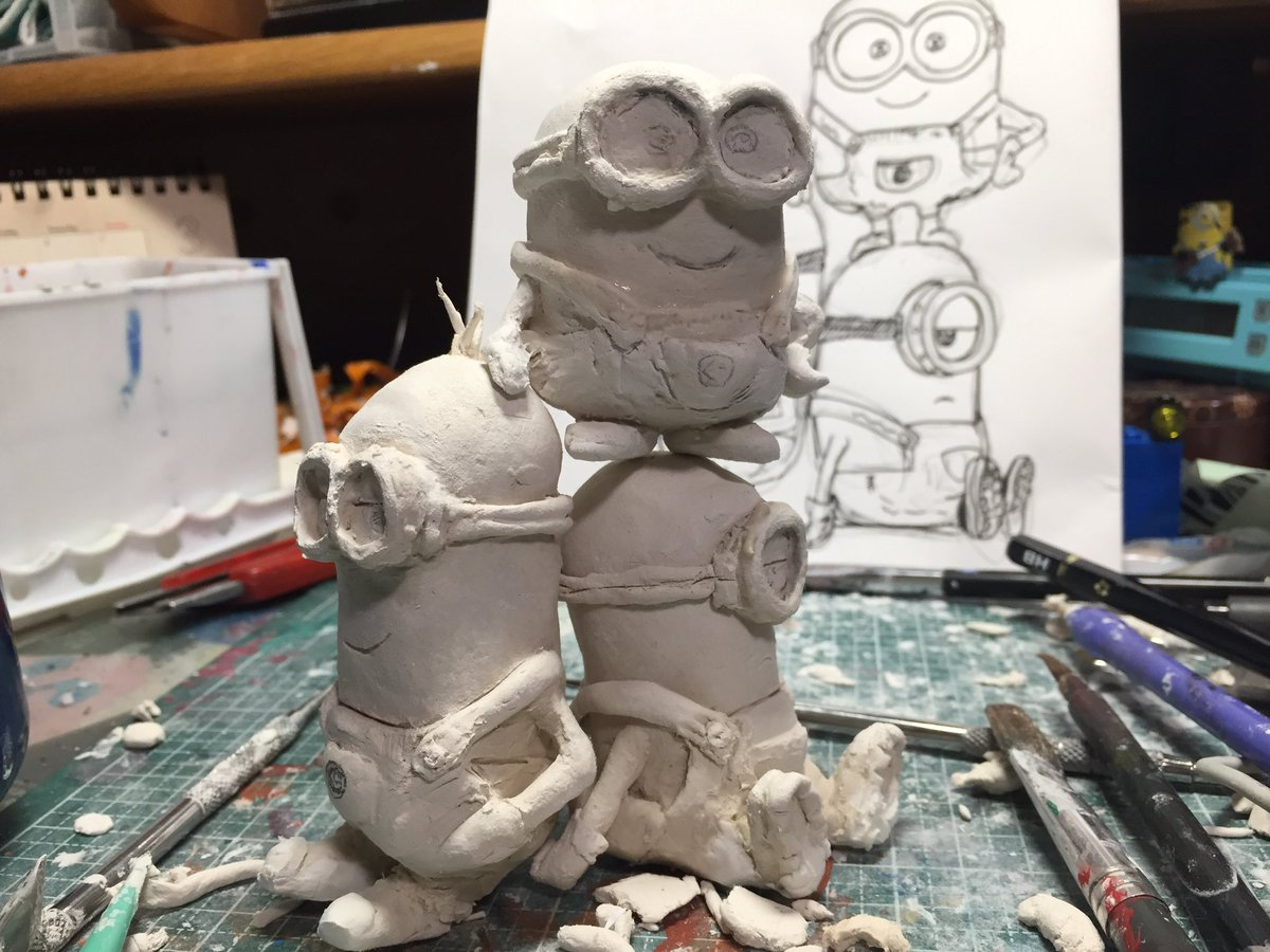test ツイッターメディア - #ダイソー   #フィギュア #ミニオンズ  ダイソーに売ってる石粉粘土で ミニオンたちをつくりました 100円なのにこの粘土すごく使いやすい https://t.co/rMTIgFOI12