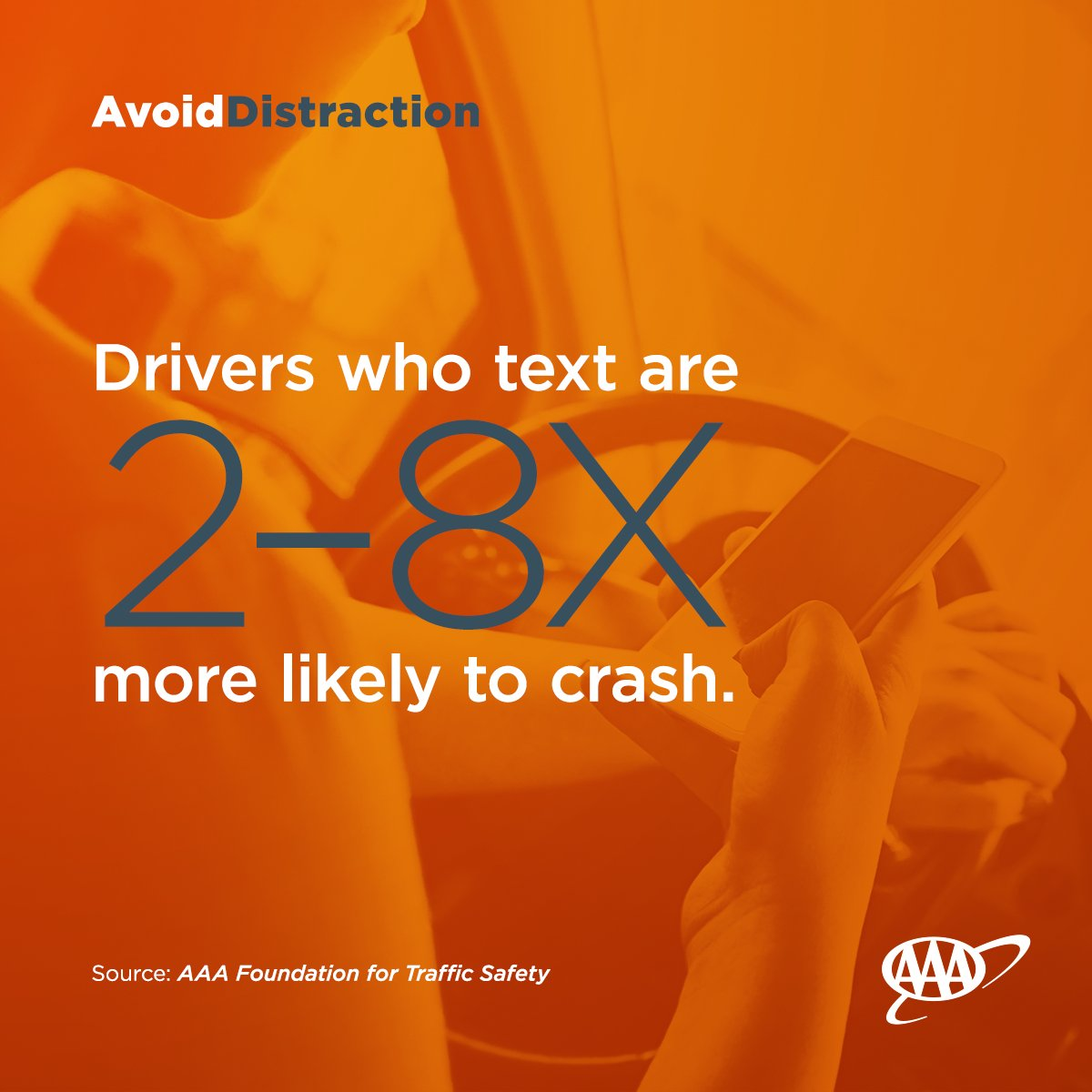 Sending that text could mean a crash. Focus on the road. #BeSafe #DriveSafe #AAA https://t.co/k47ppD3Q0x