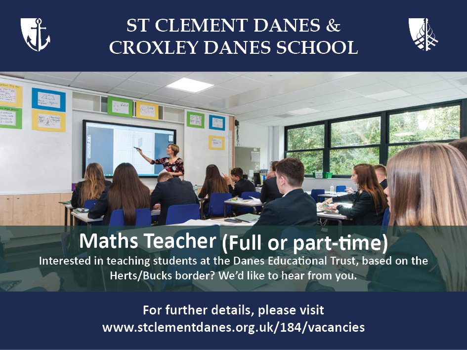 #teachingvacancyuk  Maths Full time or part time SouthEast Apply now: https://t.co/KDuIshvPVW  By: 20 April 2018 For: 1 Sept 2018 Come and work within a fantastic team at St Clement Danes, an oversubscribed, successful school on the Herts/Bucks border. https://t.co/ews4kp9BJR