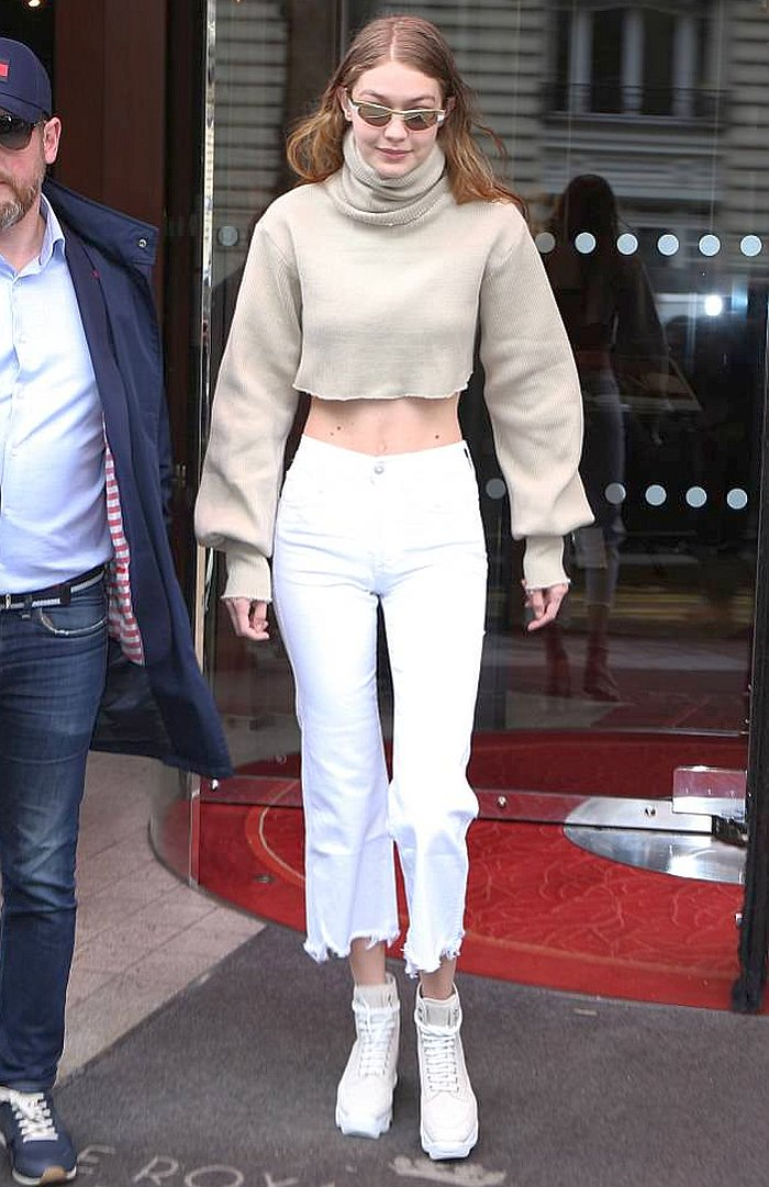 2c7e85a418b ... Wide Leg Jeans - https   denimology .com 2018 03 gigi-hadid-in-3x1-white-cropped-wide-leg-jeans …  gigihadid   3x1  orseund  irishoes  croppedjeans ...