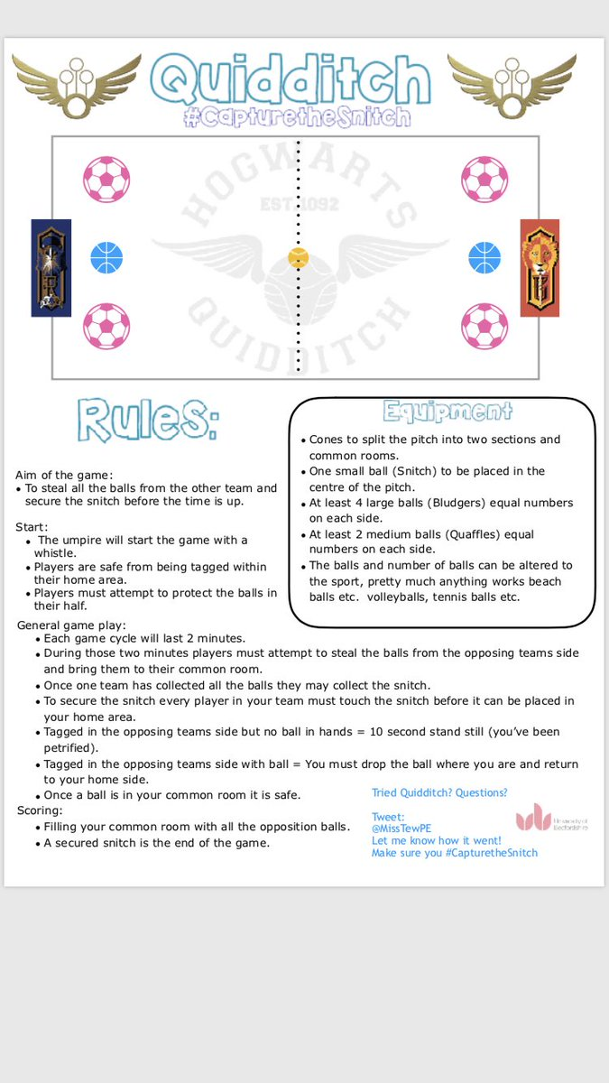 Created this little game, can be adapted to suit particular sports or used as a warm up! We've tried it out in school and adapted the rules for football, the girls loved it! Give it a go and let me know how it went #capturethesnitch @PE4Learning #elevatingdomains #pegeeks