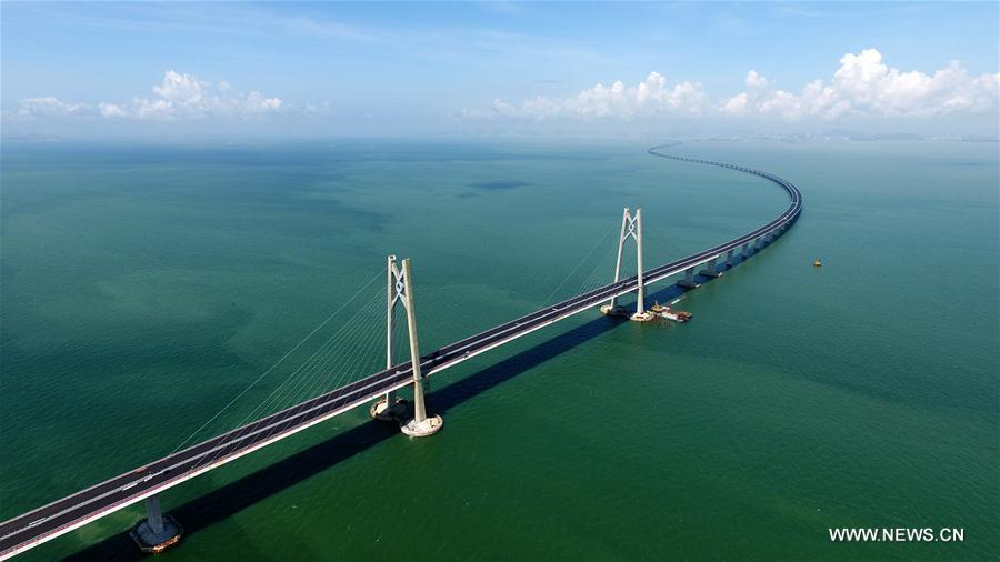 Hong Kong-Zhuhai-Macau Bridge testing operations to start in May. The 55km-long bridge will shorten travel times between China's special administrative regions Hong Kong and Macau and the western part of the Pearl River Delta to one hour. (file photo)