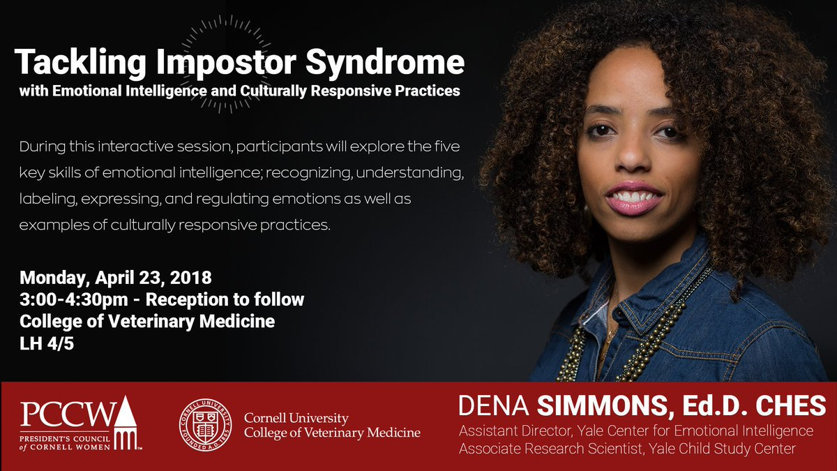 Explore the five key skills of emotional intelligence during this talk by @DenaSimmons on April 23 @CornellVet. @Cornell_PCCW events.cornell.edu/event/tackling…