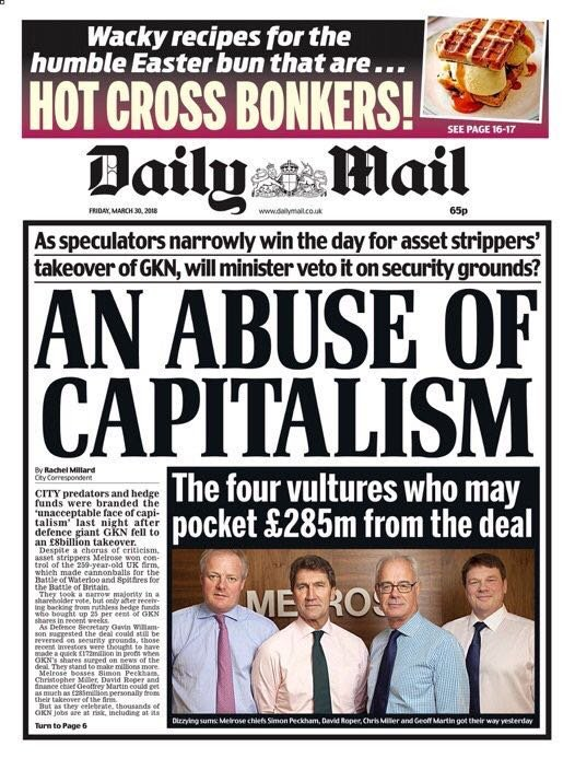 You know things are bad when the Daily Mail calls out a rigged economic system.  The Tories have put the interests of city speculators over people's jobs.  Labour would have stopped the takeover of GKN and in government we'll make our economy work for the many, not the few.