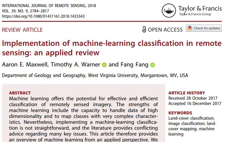 Mike Wulder On Twitter Solid And Timely Machine Learning Review