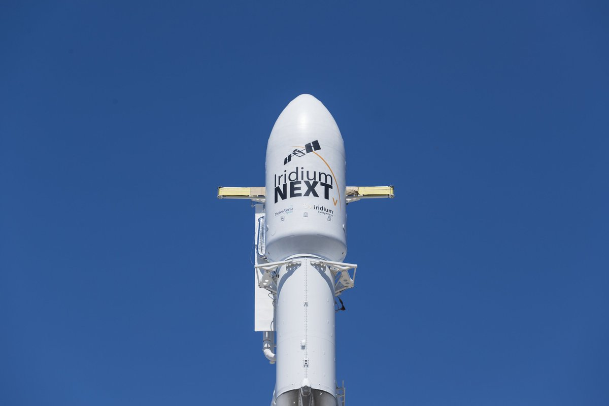 Falcon 9 is vertical on the SpaceX launch pad at Vandenberg Air Force Base in advance of the Iridium-5 mission. All systems and weather are go for tomorrow's launch at 7:13 a.m. PDT, 14:13 UTC.