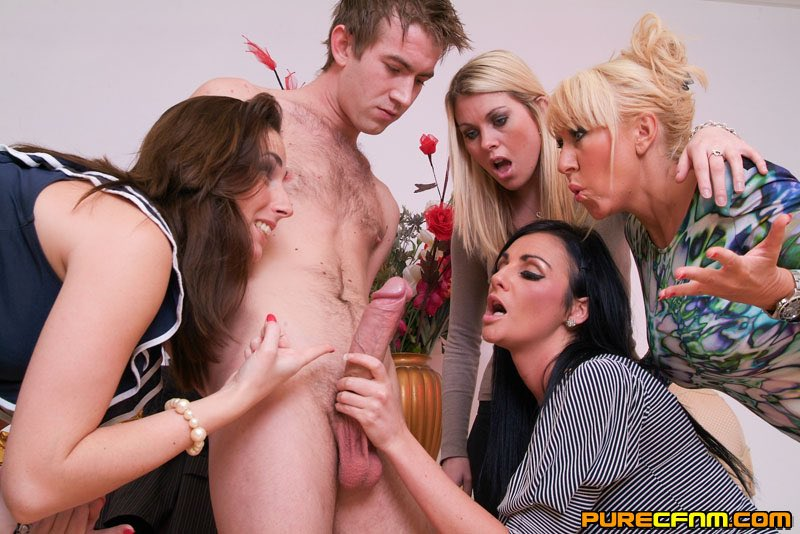 Girls helping boys to jack off — pic 4