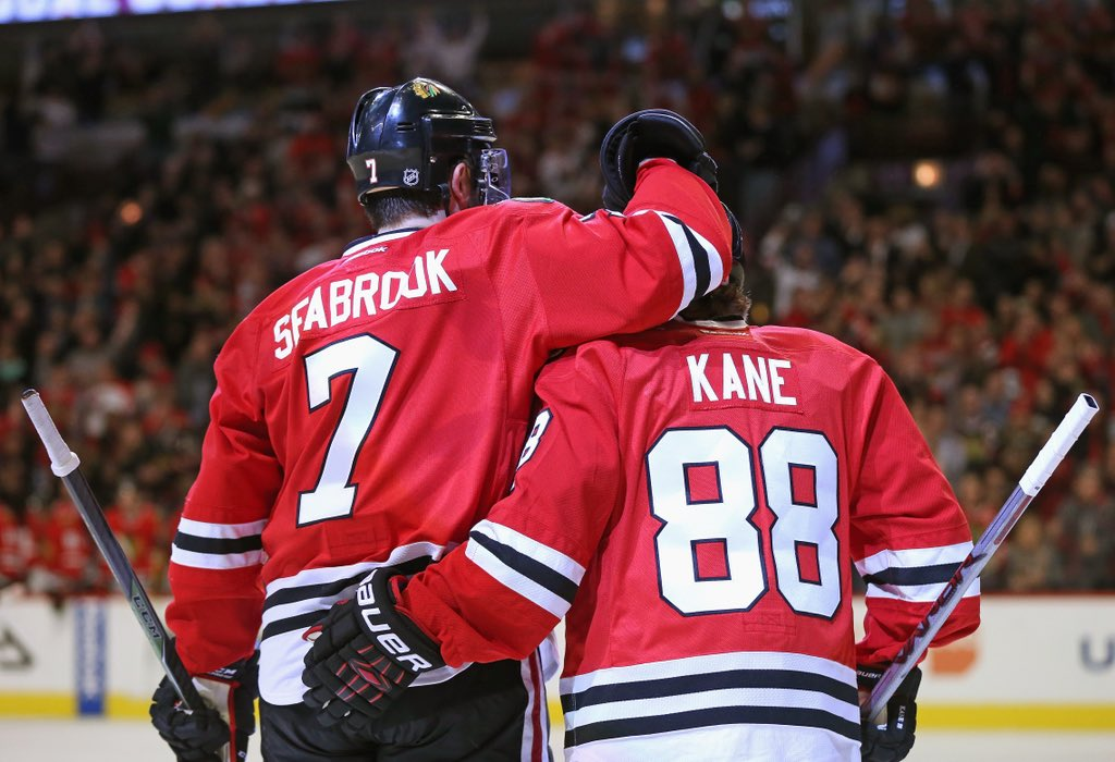 Big goals, big hits, great leader. Proud to call you my friend. Congrats on 1000. #Seabroo1k