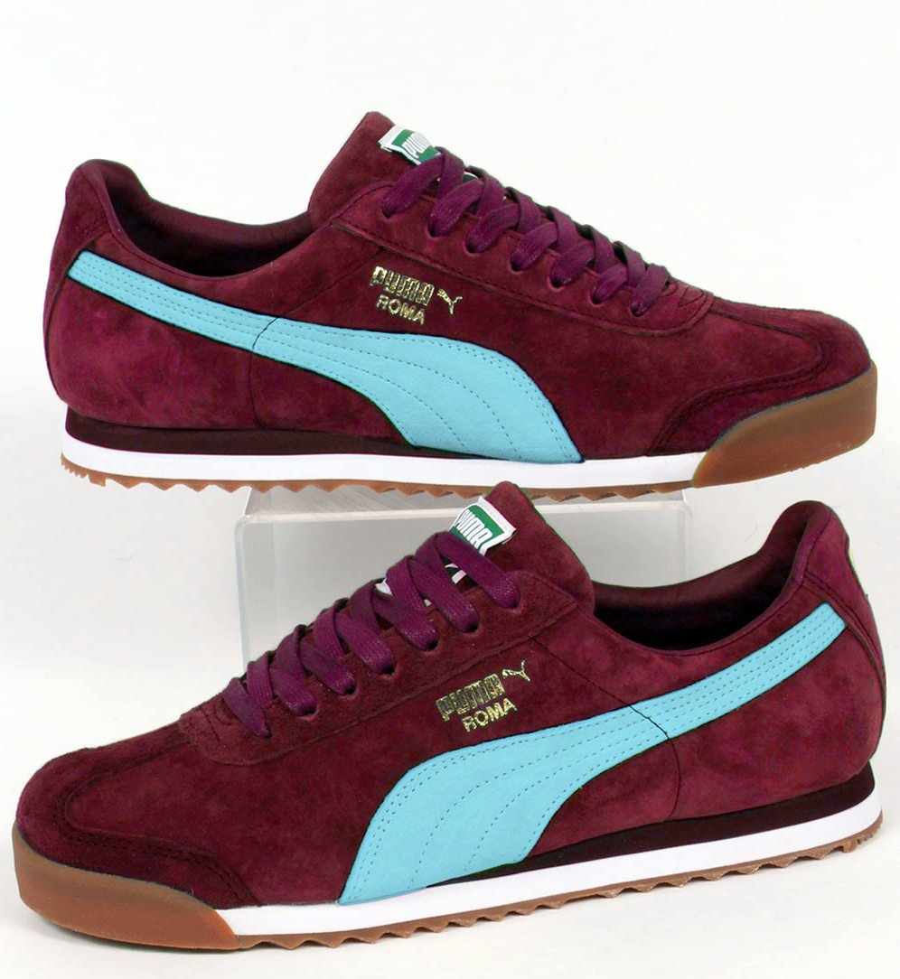 claret and blue trainers