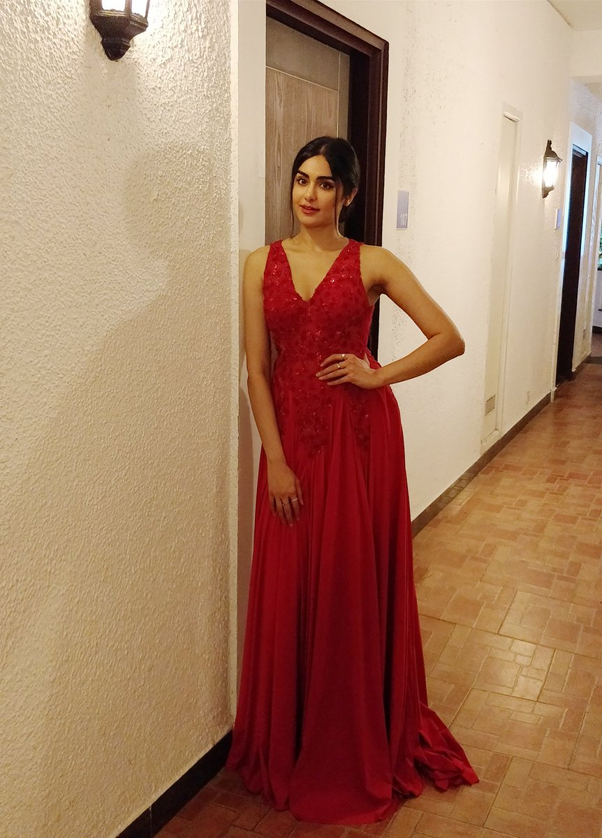 8b16d20655c Gorgeous  adah sharma looks ravishing in a red  paruljmaurya gown at her  friend s wedding reception Styled by  natashathakur  bollywood  downloads  ...