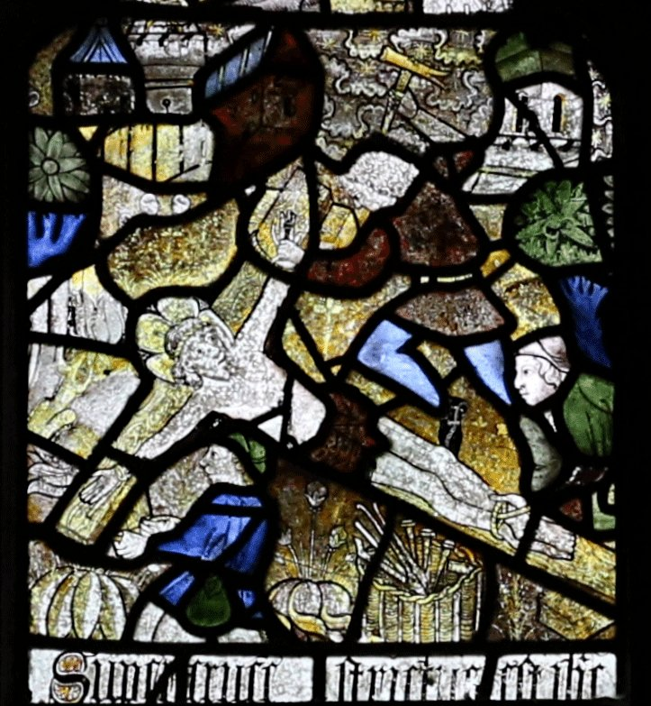 Image result for medieval stained glass matthew's morley crucifixion