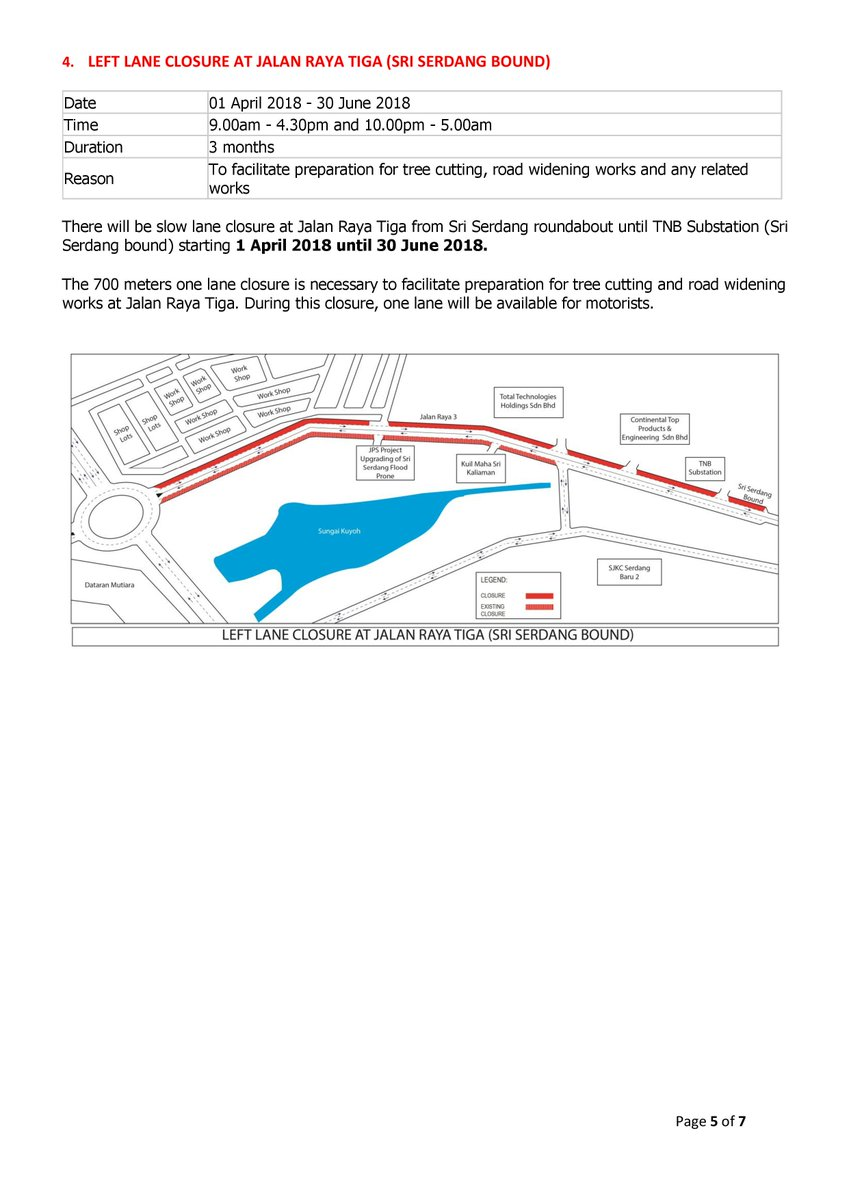 Mass rapid transit on twitter left lane closure at jalan raya mass rapid transit on twitter left lane closure at jalan raya tiga sri serdang bound date 01 april 2018 30 june 2018 time 900am 430pm and ccuart Gallery