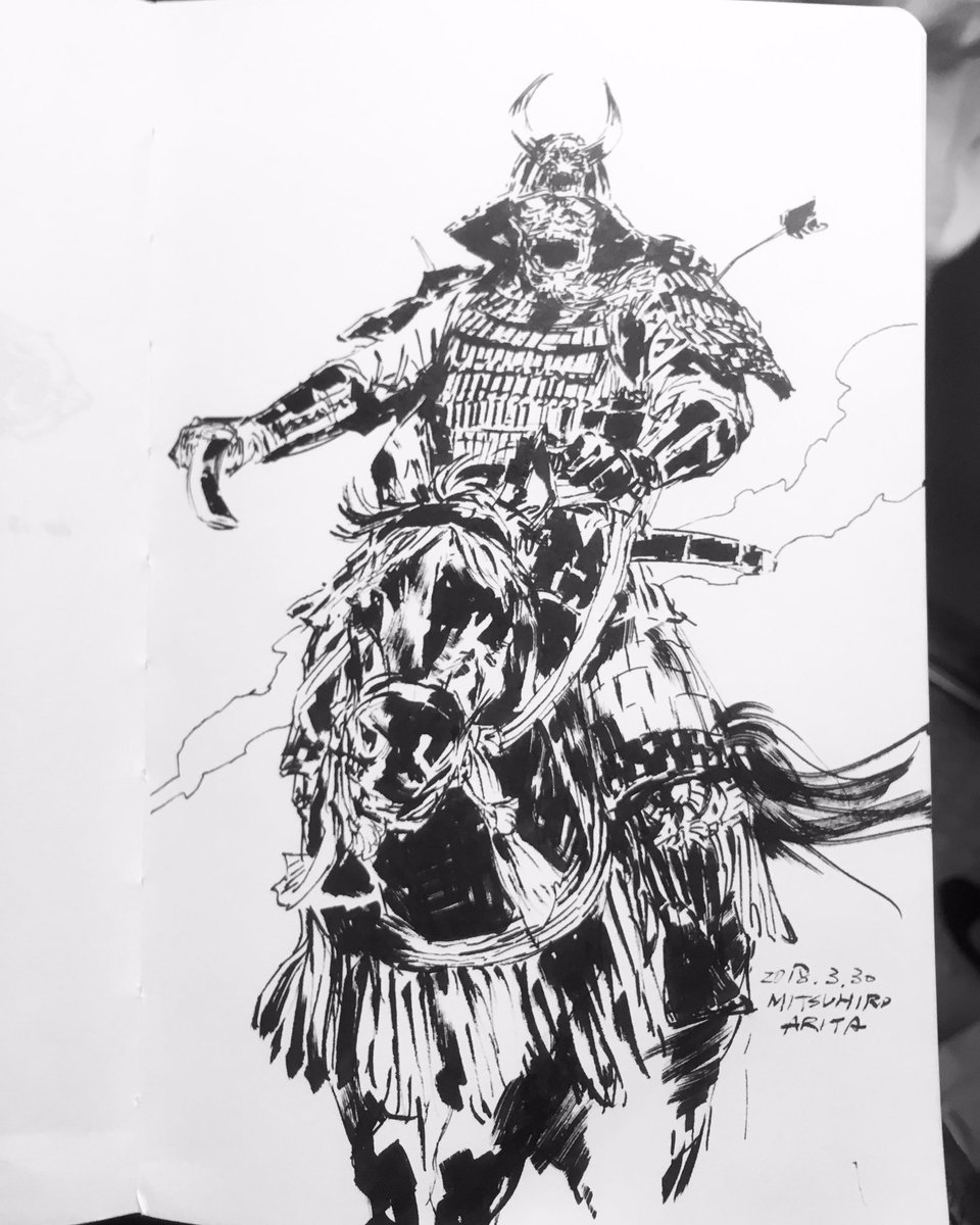 Finished #sketch on the #train #kuretake #zig #calligraphy #samurai 40 min. 電車酔った。キモチワルイ