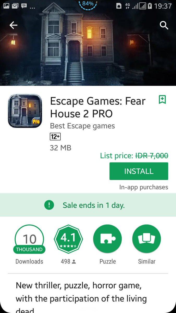 تحميل لعبة Escape Games: Fear House 2 PRO المدفوعة مجانى لفترة