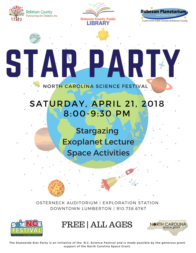 The statewide Star Party is an initiative of the SCIENCE FESTIVAL. The  event is 8:00 p.m. - 9:30 p.m. at the Osterneck Auditorium   Exploration  Station in ...
