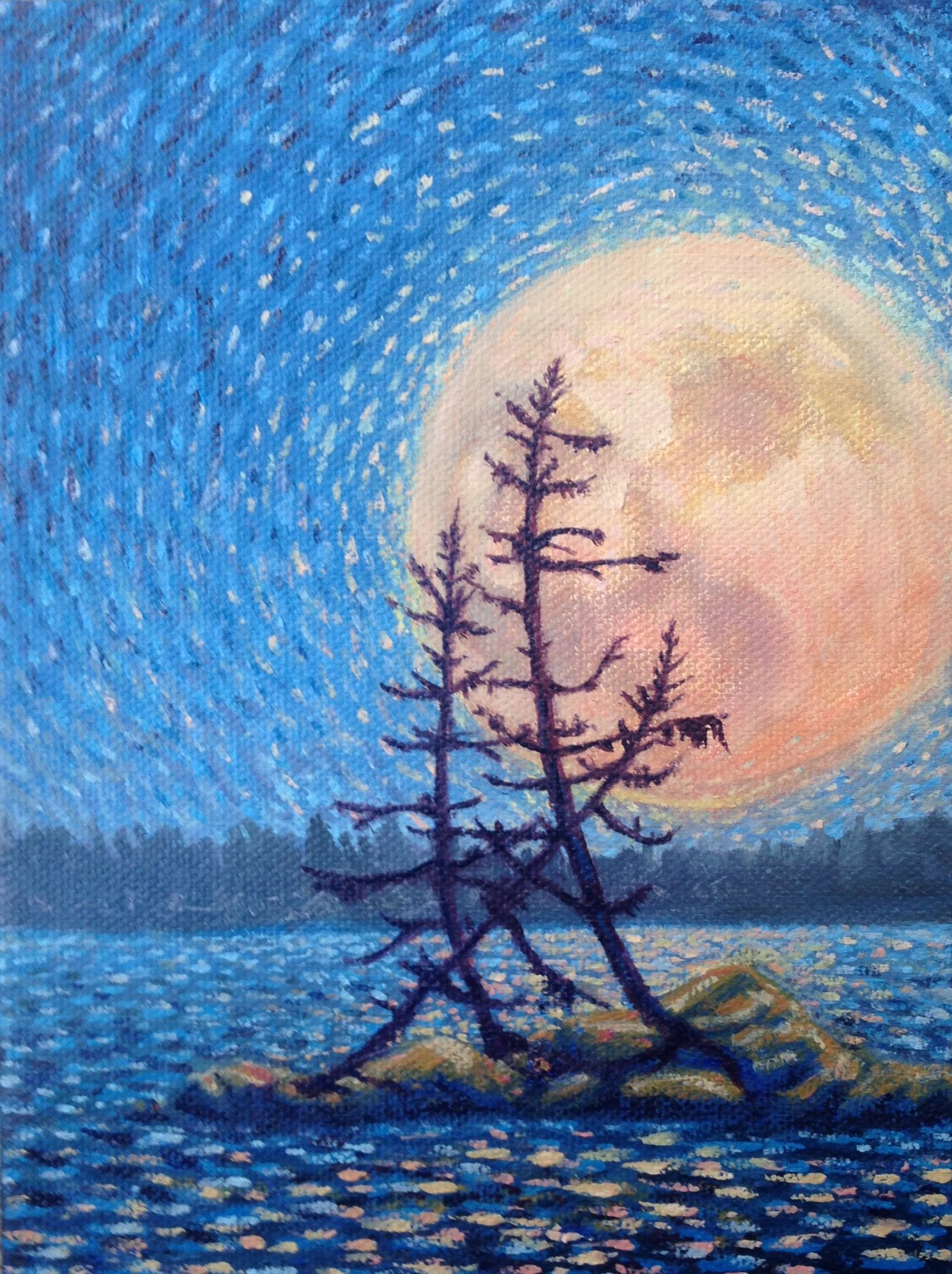 Reloaded twaddle – RT @johnkinsella52: #BLUEMOON on Saturday- Big Moon II, Algonquin 2018 Oil on ca...