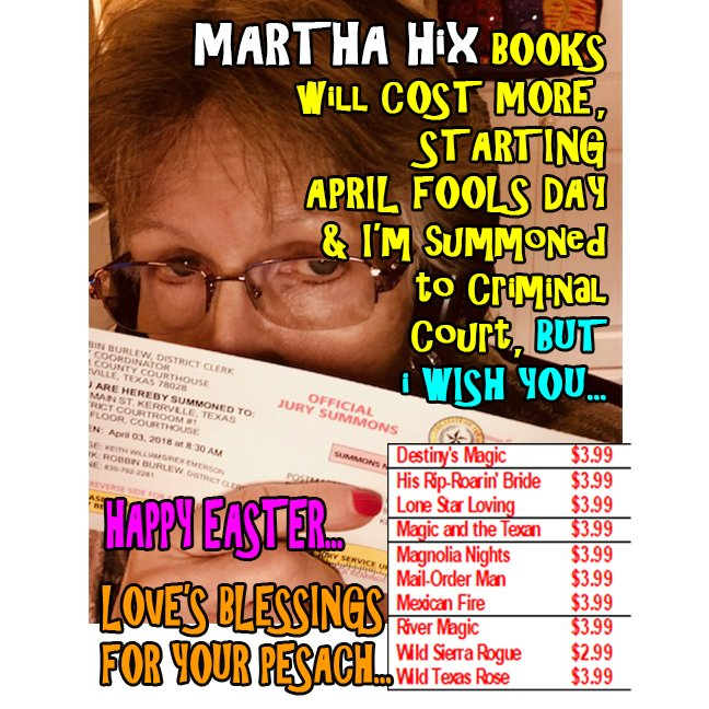 And If You Want A HIX EBOOK Get It Fore Sunday MarthaHixWriter MarthaRandHix LyricalPress KensingtonBooks TexanBrides TheCattlemanTakesAWife