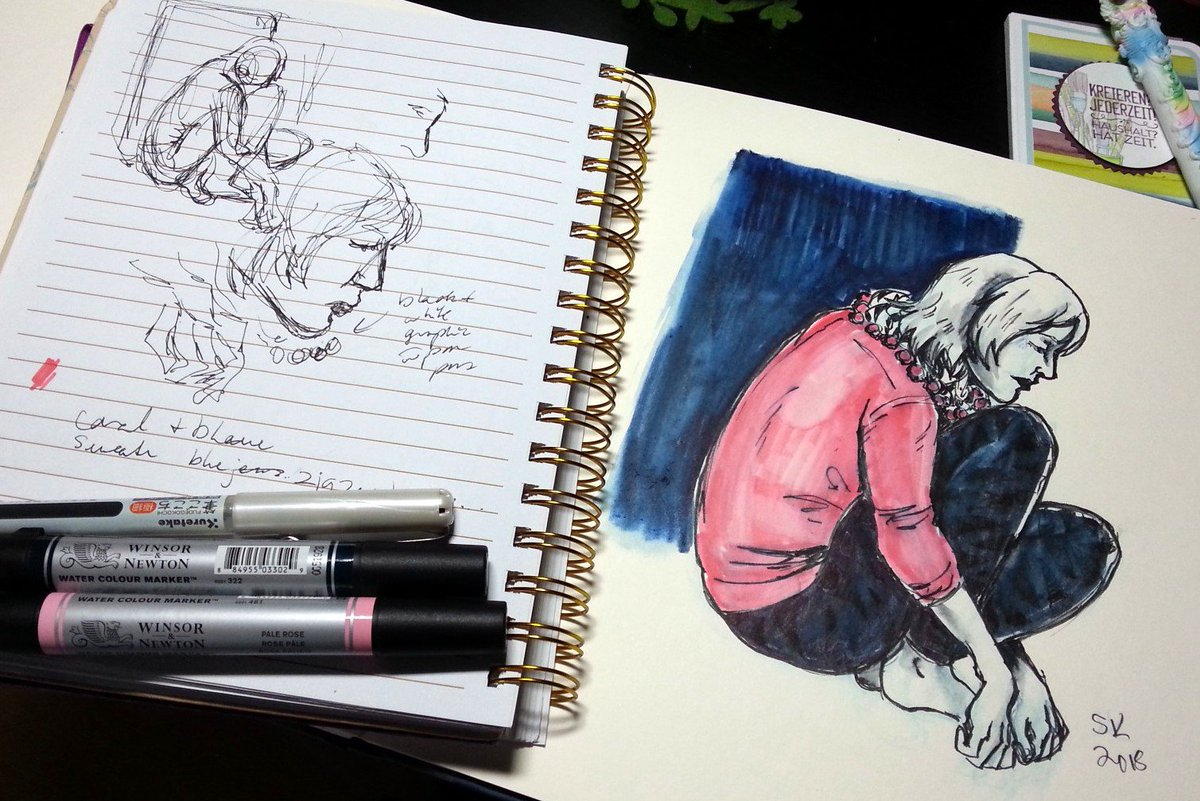 Curled up next to me in a cafe and took some sketch notes to do a finished illustration at home illustration art figuredrawing sketching artist